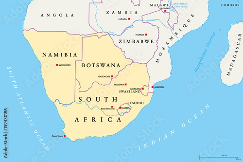 Southern Africa region political map Southernmost region of African