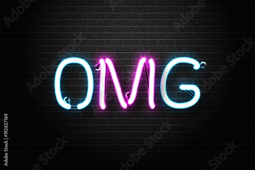 Vector realistic isolated neon sign of OMG lettering for decoration