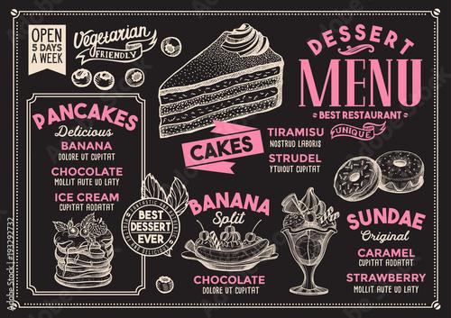 Dessert restaurant menu Vector food flyer for bar and cafe Design