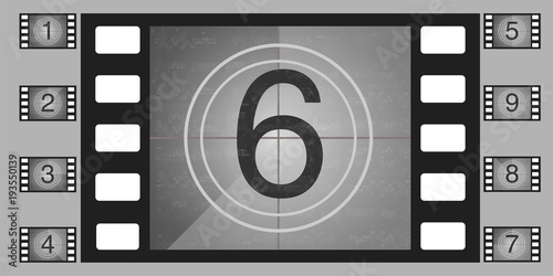 Movie countdown numbers vector set The countdown to the start of