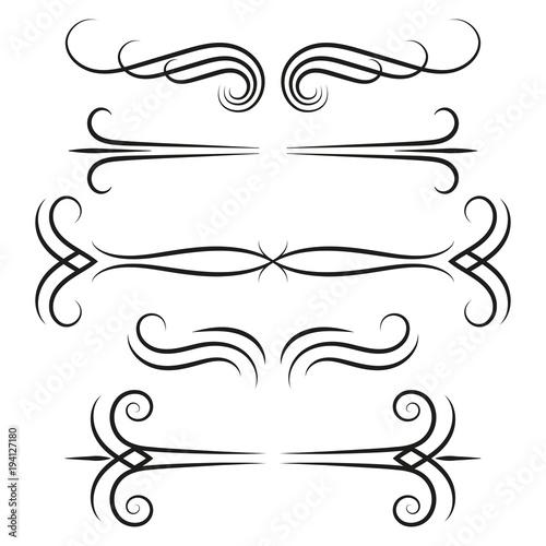 Ornamental borders set Swirly lines design elements Vintage