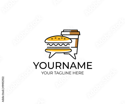 Burger and coffee in a paper cup with comments logo template Review