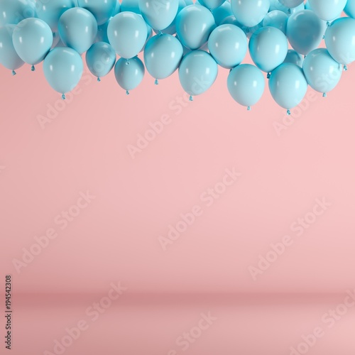 Blue balloons floating in pink pastel background room studio