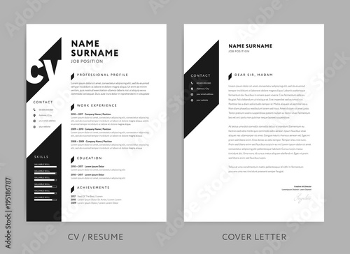 Minimalist CV / resume and cover letter - minimal design - black and