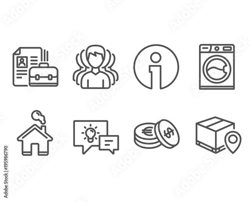 Set of Savings, Group and Vacancy icons Washing machine, Idea lamp