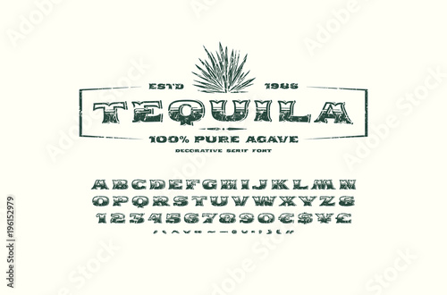 Ornate serif font and label template for tequila - Buy this stock