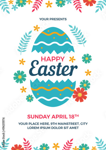 Happy Easter Flyer Template - Buy this stock vector and explore