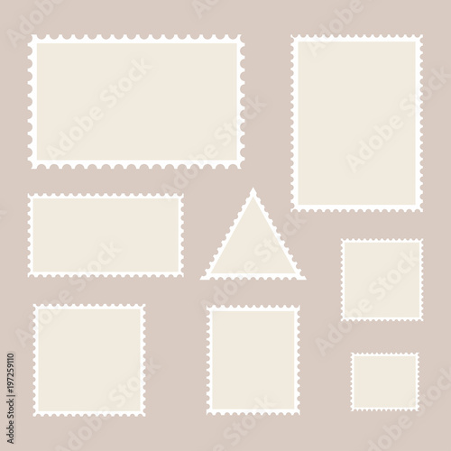 Postage stamp template Set of blank stamps - Buy this stock vector - stamp template