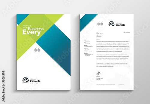 Letterhead Layout with Blue and Green Gradient Elements Buy this