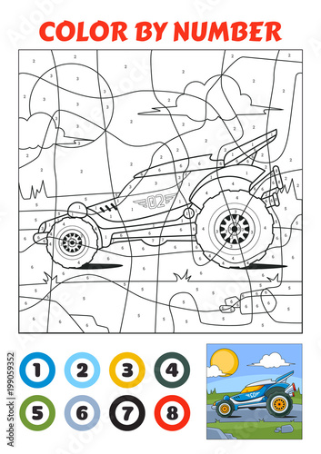 Color by Number is an educational game for children Blue Racing Car