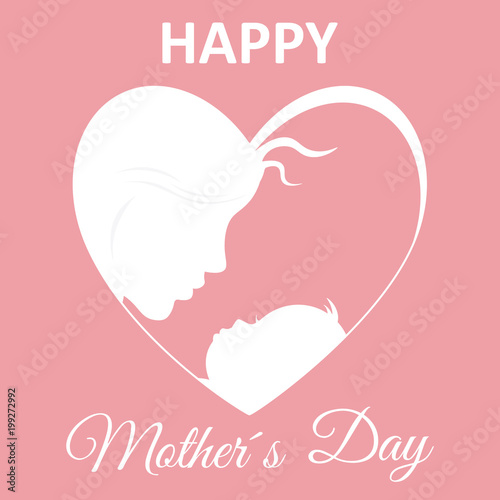 Happy mother\u0027s day card Mom and baby inside a heart - Buy this