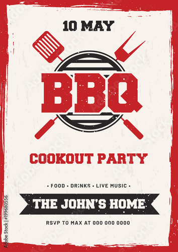 Barbecue Poster, Flyer, Template or Invitation Design - Buy this