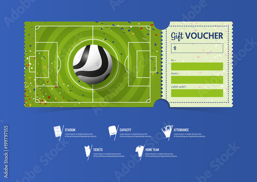 Football or Soccer ticket template design for sport match Soccer - Ball Ticket Template