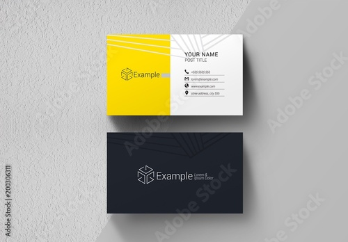 Black, Yellow, and White Business Card Layout Buy this stock