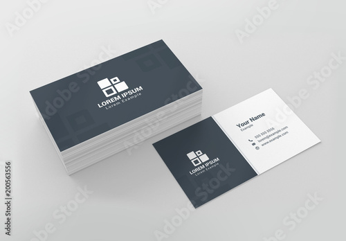 Blue-Gray and White Business Card Layout Buy this stock template