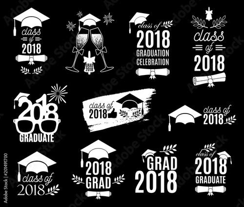 Graduation class of 2018 labels design set Concept for shirt, print - print grad cards