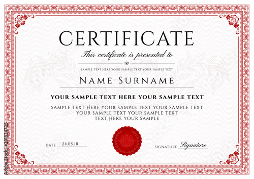 Certificate, Diploma of completion (design template, white
