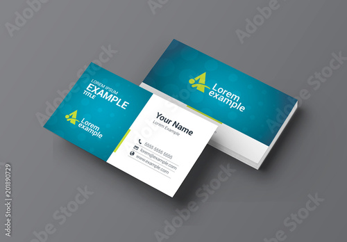 Blue and Green Business Card Layout with Bokeh Background Buy this