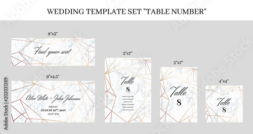 Wedding template set Table Number cards White marble background and