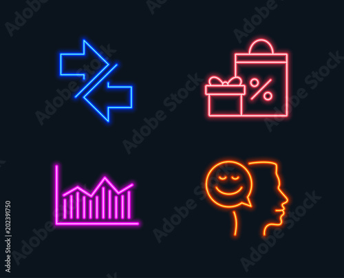 Neon lights Set of Shopping, Synchronize and Money diagram icons