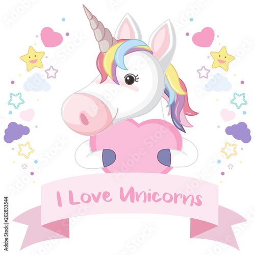 A Cute Colourful Unicorn Template - Buy this stock vector and