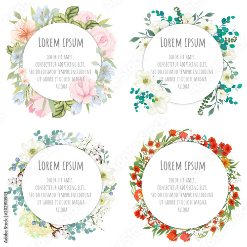 A set of round templates for congratulations, cards, invitations
