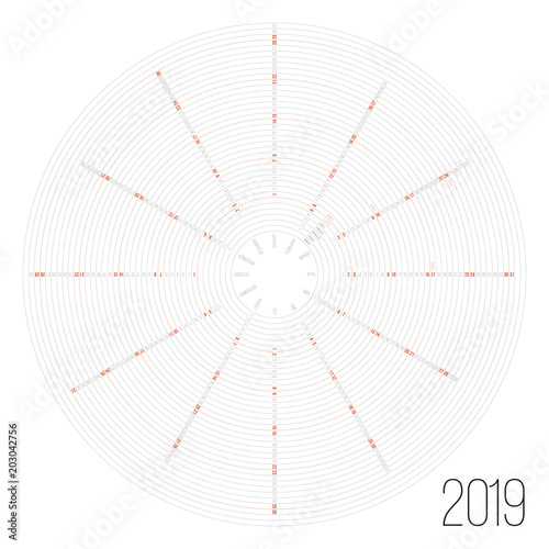Circular calendar 2019 year Minimal date poster - Buy this stock - circular calendar
