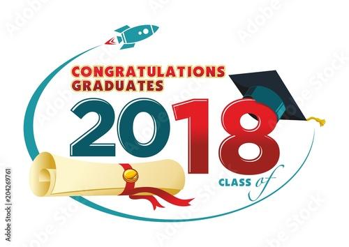 Congratulations graduates card Vector text for graduation design
