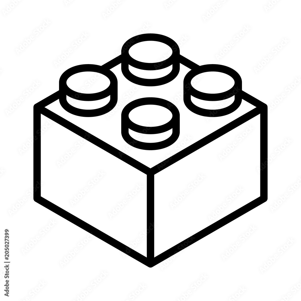 Fototapeten Lego Fotografie Obraz Lego Brick Block Or Piece Line Art Vector Icon