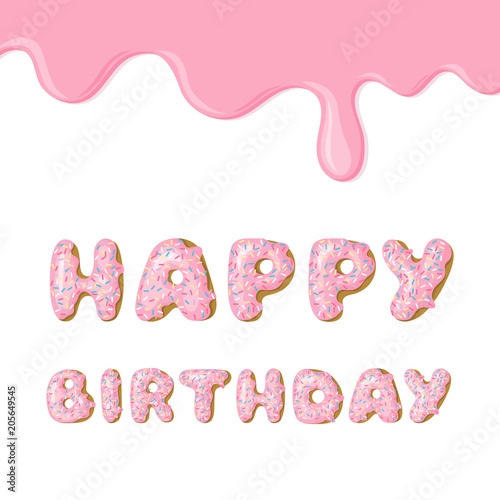 Cute pink Birthday card Donut with pink glaze Vector card template