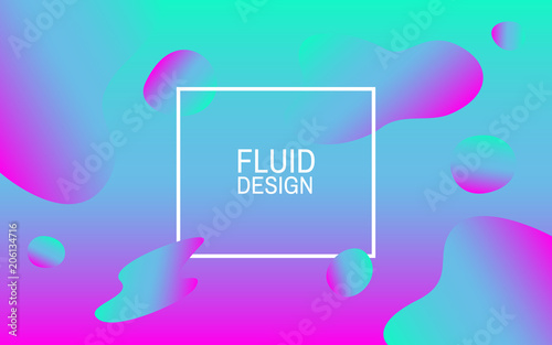 Fluid bubbles Colorful abstract background Geometric shapes