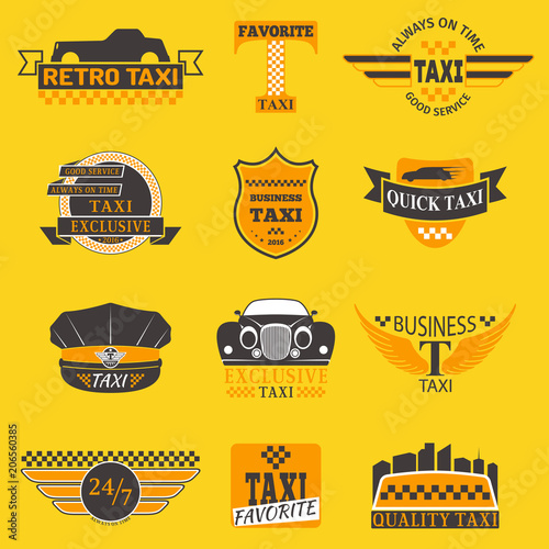 Taxi logos vector label badge templates design elements text and