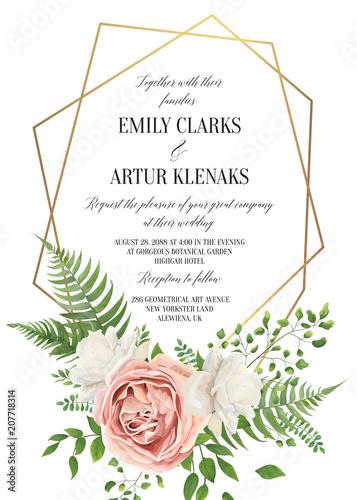 Pink Rose 3d Wallpaper Wedding Floral Invite Invtation Card Design Watercolor