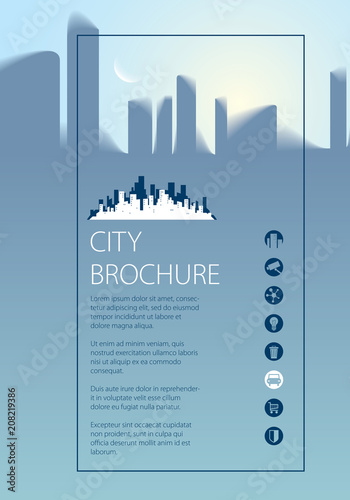 Simple minimalistic city skyline traveling tourist guide book