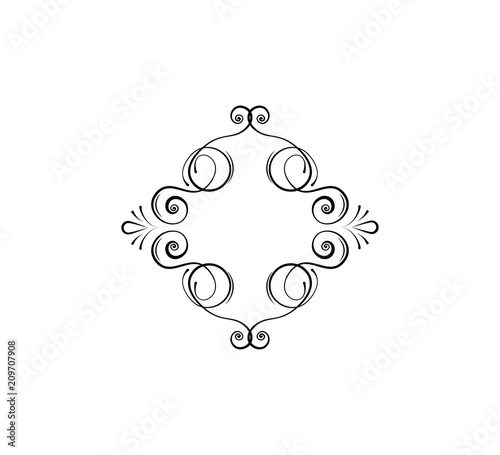 Calligraphic swirly frame, decorative flourish dividers Flourish