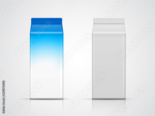 Vector set of milk carton isolated on grey background Blank paper