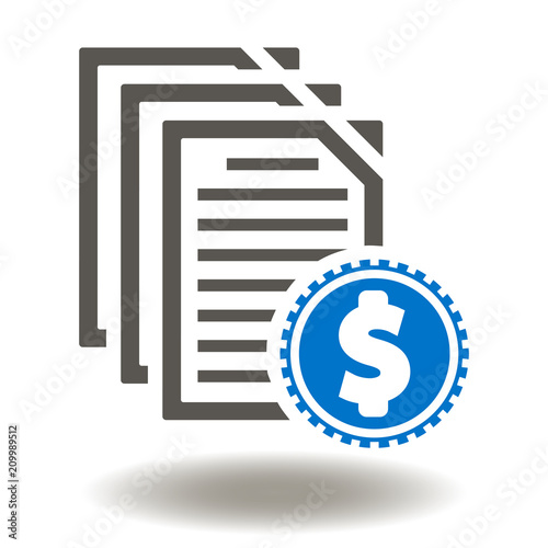 Document with dollar coin icon vector Money Report Illustration