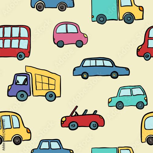 Seamless pattern of hand drawn cute cartoon cars for kids design