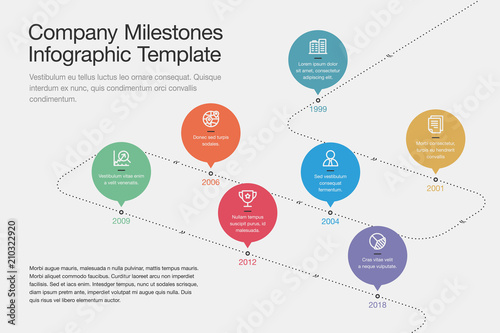 Simple visualization for company milestones timeline template with