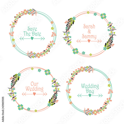 Floral wedding label set vector design template with pink and tosca