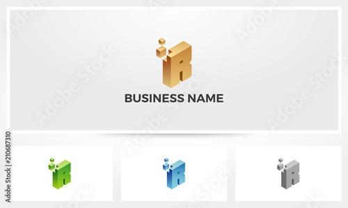 Letter R Block Stack Build Logo - Buy this stock vector and explore