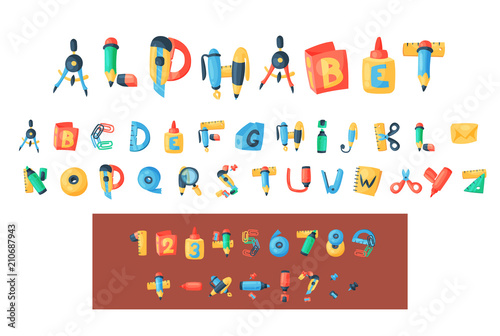 Alphabet stationery letters vector abc font alphabetic icons of
