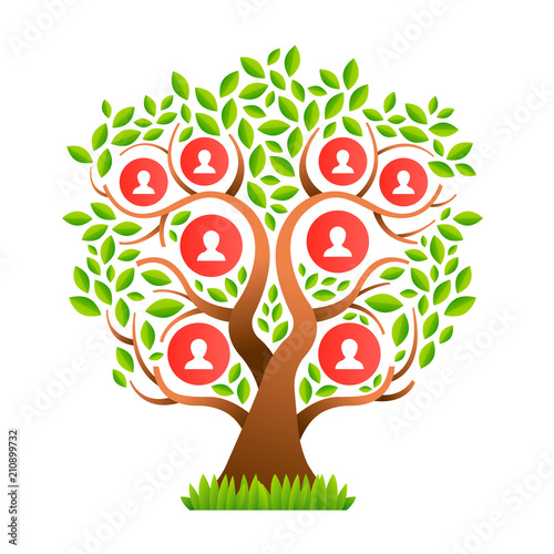 Big family tree template with people icons - Buy this stock vector