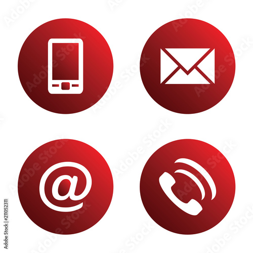 Vector icon set red spherical communication icons - mobile phone