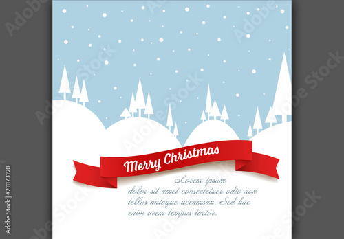 Christmas Card Layout with Snowy Landscape Illustration Buy this