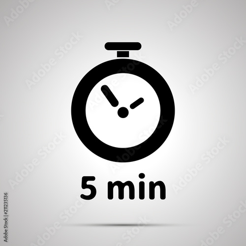 Five minutes timer simple black icon with shadow - Buy this stock