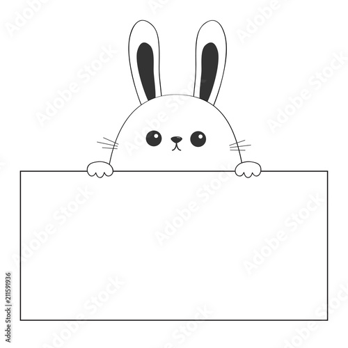 Rabbit happy face head icon hanging on paper board template Paw
