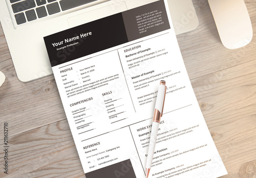 Resume Layout Set with Dark Grey Accents Buy this stock template