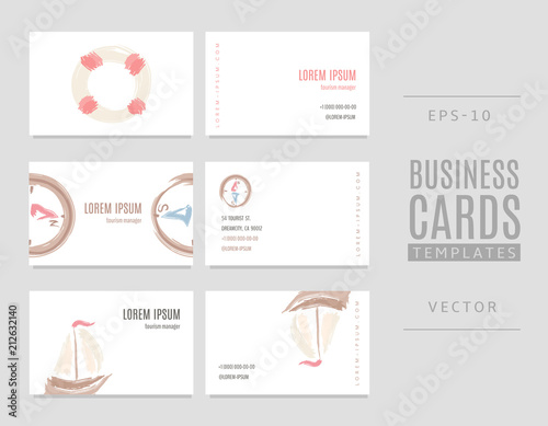 Business cards in marine style with hand drawn lifebuoy, ship and