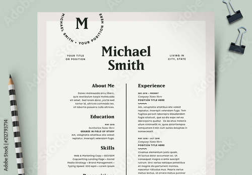 Modern Resume Layout Kit Buy this stock template and explore